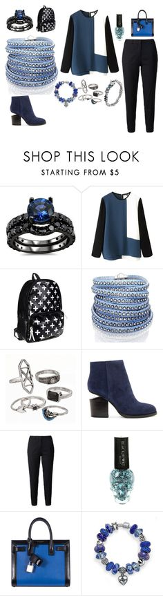 """Black and blue"" by queenalisa on Polyvore featuring beauty, Sif Jakobs Jewellery, Mudd, Alexander Wang, Current/Elliott, Yves Saint Laurent, Bling Jewelry and John Hardy"