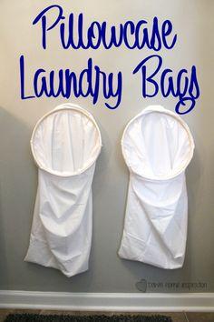 DIY pillowcase laundry bag – Down Home Inspiration – Dorm Room İdeas 2020 Laundry Room Storage, Laundry Hamper, Diy Storage, Laundry Bags, Laundry Area, Decorate Your Room, Dorm Room, Pillow Cases, Inspiration
