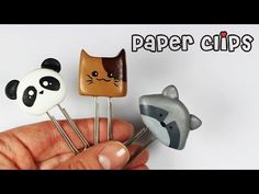 DIY Polymer Clay Kawaii Paper Clips Tutorial (panda cat raccoon)
