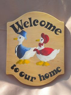Outdoor welcome sign, two ducks, hanging welcome sign, acrylic painting, handmade sign, hand paint sign, outdoor door decor, front door by WoodnThingsNY12534 on Etsy