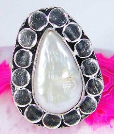 Biwa Pearl & 925 Silver Handmade Beautiful Ring Size & gift-box