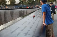 Honoring the victims of 9/11 at the memorial.