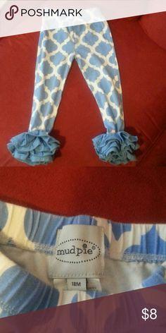 Mud Pie Leggings 18m Mud Pie blue and white leggings with ruffled ankles. Mud Pie Bottoms Leggings