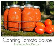 Canning homemade tomato sauce is a healthy, frugal alternative to store bought. It's easier than you think! #firefliesandmudpies