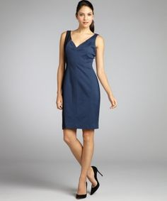 Elie Tahari : cadet blue and black stretch woven color block tank dress : style # 321085801