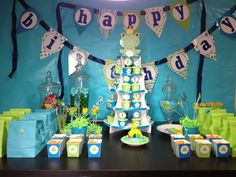 Frog Prince's Table! My prince Liam's first Birthday party!  (( by me ))