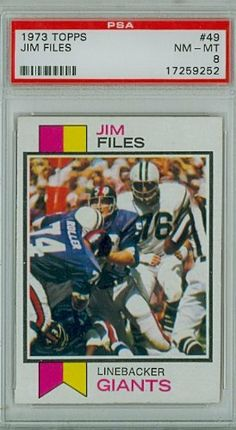 1973 Topps Football 49 Jim Files Giants PSA 8 Near-Mint to Mint by Topps. $7.00. This vintage card featuring Jim Files is # 49 from the 1973 Topps Football set