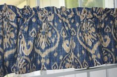 VALANCE -  IKAT BLUE AND BEIGE TRIBAL DESIGN FABRIC  WITH LINING  52 X 13  #Handmade #TRIBALIKAT