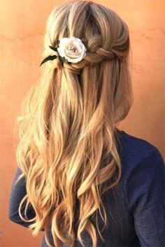 Wedding Hairs braided wedding hair half up half down with curls braid and pink rose yourbraids - From soft waves to gorgeous updos and ponytails, brides have so many hairstyles to consider. See our gallery of braided wedding hair ideas for inspiration! Bridal Hair Half Up, Wedding Hair Half, Wedding Hairstyles Half Up Half Down, Half Up Half Down Hair, Straight Wedding Hair, Rose Wedding, Long Hair Extensions, Synthetic Hair Extensions, Wedding Hair With Extensions