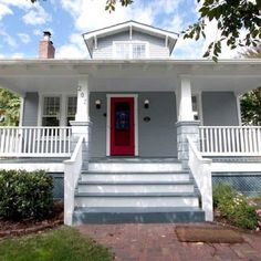 This is what a red door and white/grey house looks like :-/