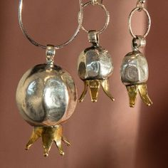 silver and gold overlay pomegranate pendant & earrings