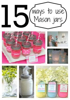 15 Ways to Use Mason Jars (or other jars) -great ideas! #DIY #crafts