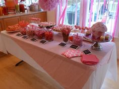"""Sweet Shoppe dessert display - Cute idea for a girl's birthday party: Instead of a """"white party,"""" a """"Pink Party!""""  Ideas and links for where to buy at Simple/Fancy/Fun -  girl's 1st birthday party ideas"""