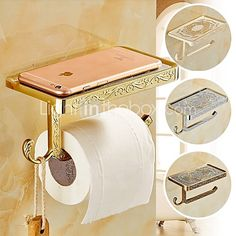 Bathroom Wall Mounted Zinc Alloy Toilet Paper Holder Mobile Phone Holder Tissue Box with Hook - USD $29.99 ! HOT Product! A hot product at an incredible low price is now on sale! Come check it out along with other items like this. Get great discounts, earn Rewards and much more each time you shop with us!