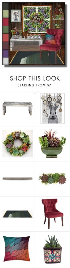 """""""Steampunk Meets Succulents"""" by shannon-brennan ❤ liked on Polyvore featuring interior, interiors, interior design, home, home decor, interior decorating, FabFunky, Lyon Béton, Jayson Home and Pier 1 Imports"""