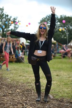 Immy Waterhouse at Glastonbury festival 2015 wearing exclusive personalised Hunter Original boots