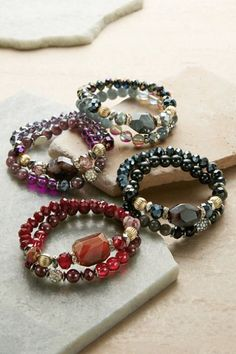 Our Sammi Stretch Bracelets all tell a story! Hand-strung with beads of colored glass, faceted pave rhinestone, and faux gemstones make these bracelets perfect to wear alone, or stacked into an arm party.
