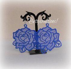 Orecchini Pizzo Macramè Rose Blu