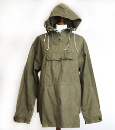 Vintage 1970's Military Green Canvas Anorak