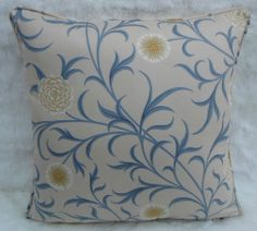 William Morris Fabric,Cushion Cover~ Scroll Parchment/Mineral 100% Cotton Chintz