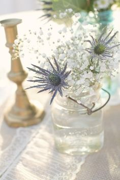 Babys-Breath and Blue-Thistle Centerpieces { this might be my best beat}