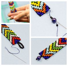 [gallery columns& ids& Pretty bracelets? Ever try beading loom bracelets? Personally, I think they are one of the most tricky but challenging be… African Beaded Bracelets, Bead Loom Bracelets, Beaded Bracelet Patterns, Bead Loom Patterns, Jewelry Patterns, Beading Patterns, Beading Ideas, Diy Bracelet, Crochet Patterns