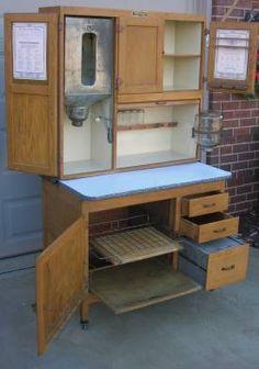 OAK Hoosier Style McDougall Cabinet w Flour Bin & Jars