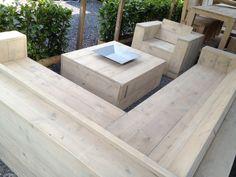 Luxe tuinset steigerhout incl vuurschaal