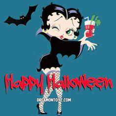 Happy Halloween - Winking Vampire Betty Boop drinking a Bloody Mary Bad Halloween Costumes, Halloween Art, Happy Halloween, Halloween Witches, Halloween Makeup, Halloween Decorations, Betty Boop Costume, Betty Boop Halloween, Happy Tuesday Quotes