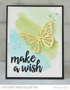 Butterfly Wish Card by Veronica Zalis featuring the Brushstroke Birthday stamp set and Flutter of Butterflies - Lace and Solid Die-namics #mftstamps