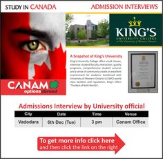 Study in Canada - King's University College. For complete information & enrolment, Register Today!  #StudyAbroad #StudyinCanada #KingsUniversityCollege #StudentVisaExperts #CanamConsultants