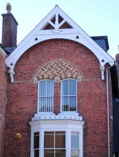 Fancy brickwork, Newtown  basket bond over window