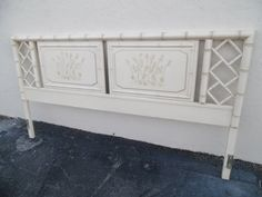 HEVEANS TO FRETSY / Dixie Aloha  King Size Solid by MIDMODTROPICAL Bamboo, Headboard, Interior, Solid Wood, Faux Bamboo, King Size Headboard, Painted Bamboo, Chinese Chippendale, Dixie Furniture