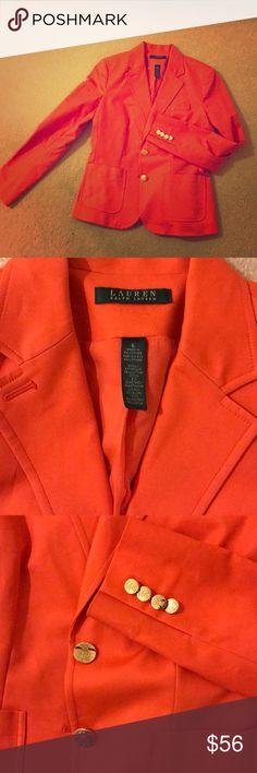 Ralph Lauren Blazer Stunning poppy orange blazer with gold buttons.. tailored fit.. Lauren Ralph Lauren Jackets & Coats Blazers