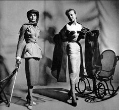 1951 Model on left in wool town-suit by Pierre Balmain, model on right in coktail dress with organza stole by Alwynn Camble, photo by Willy Maywald