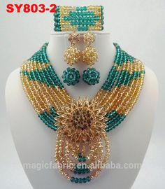 Colorful Drop shape African Beads Jewelry Sets Nigerian Wedding Jewelry Sets…