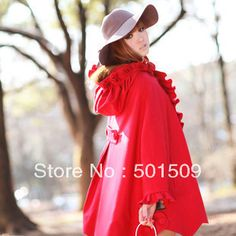>> Click to Buy << Winter sweet vintage loose flower little red riding hood halloween costume woolen cloak overcoat outerwear female cape #Affiliate
