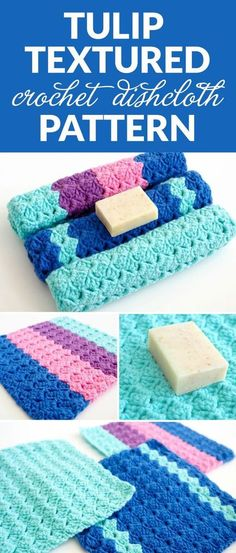ALT text: Here's a pretty Tulip Textured crochet dishcloth pattern using the gorgeous tulip stitch. It has a beautiful repetitive pattern with a lovely bumpy texture.