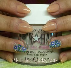 Nude coffin shaped sculptured nails with inlaid flowers and crystal accents #artisticnaildesign