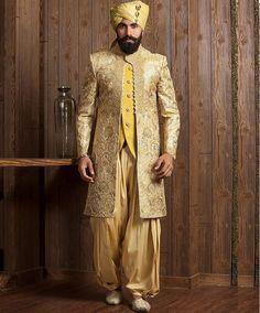 mustard Yellow Pakistani Sherwani