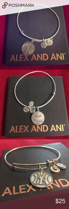 Alex and Ani Bangle This silver Alex and Ani bracelet was my first one so it is pre-loved, but it really great shape! New York Yankees baseball logo on the charm! Alex & Ani Jewelry Bracelets