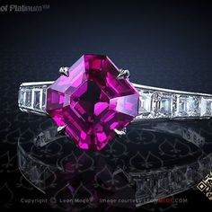 Leon Megé. Natural certified purple sapphire held in single claw prongs.