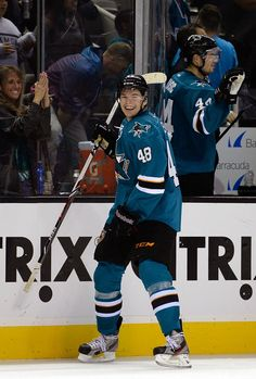 San Jose Sharks forward Tomas Hertl is all smiles after scoring his fourth goal of the game (Oct. 8, 2013).