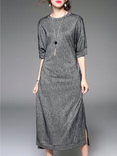 #AdoreWe CHARSU Crew Neck Casual Half Sleeve Slit Pockets Midi Dress - AdoreWe.com
