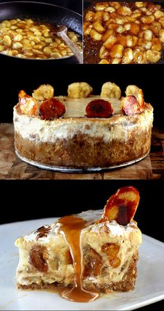 Caramelized Banana Pudding Cheesecake with Salted Cashew Praline - Vanilla Wafer Crust.  Creamy and gooey..the ultimate hybrid of cheesecake and banana pudding, and the crust is to die for! This is what dreams are made of.