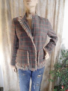 Boho Frayed Coat Size 12 100% Wool Hippie Tweed by LandofBridget