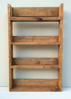 Rustic Spice Rack 4 Shelves in Medium Oak Wooden Kitchen Storage Display for Spices & Herb Jars Holds up Reclaimed Rustic Spice Rack 4 Shelves Tall Open Top Medium Oak Finish, Choice of Widths Spice Rack Rustic, Diy Spice Rack, Spice Shelf, Spice Storage, Herb Rack, Ikea Wall, Small Wood Projects, Handmade Kitchens, Diy Holz