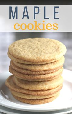 Maple cookies are an easy cookie recipe. Sugar cookies are sweetened with pure maple syrup for a tast of maple in each bite. Maple Dessert Recipes, Maple Syrup Recipes, Easy Cookie Recipes, Sweet Recipes, Baking Recipes, Maple Syrup Cookies, Sugar Free Maple Syrup, Maple Butter Recipe, Homemade Maple Syrup
