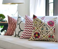 Colorful mix and match pillows