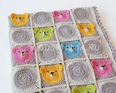 Детский плед с мишками. МК   Вязание для детей   Вязание спицами и крючком. Схемы вязания.